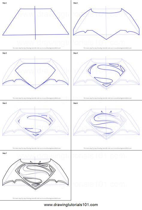 V Drawing Tutorial by How To Draw Batman V Superman Logo Printable Step By Step