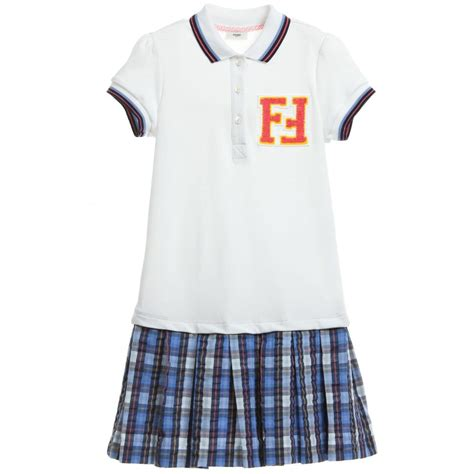 fendi white blue check ff polo dress children boutique