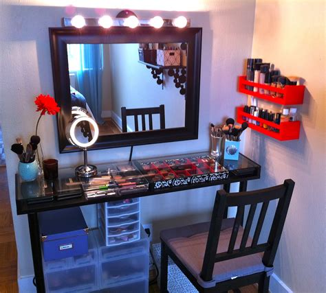 Floating Makeup Vanity by Black Framed Wall Mirror With Lighting And Narrow Glass