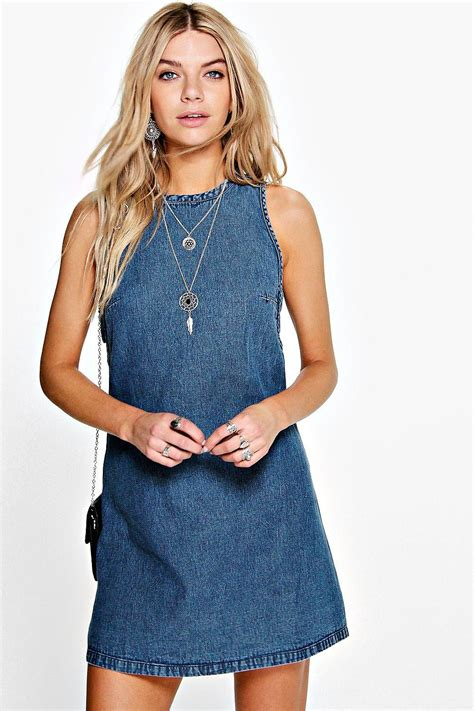 Dress Denim lolah tab side denim shift dress at boohoo