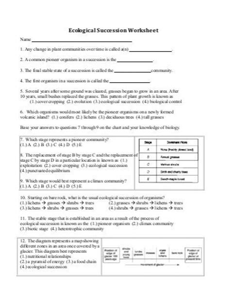Succession Worksheet Answers by Ecological Succession Worksheet Worksheets Releaseboard