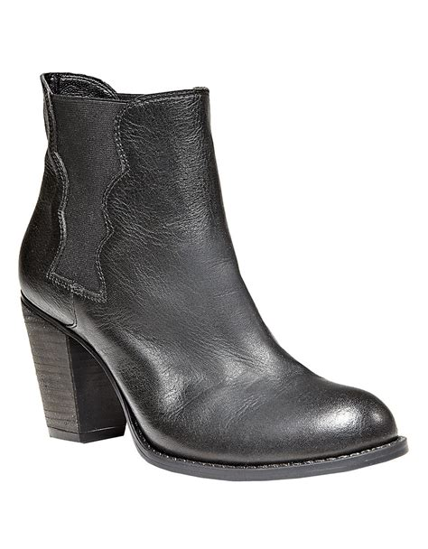 betsey johnson boots betsey johnson leather boots in black lyst