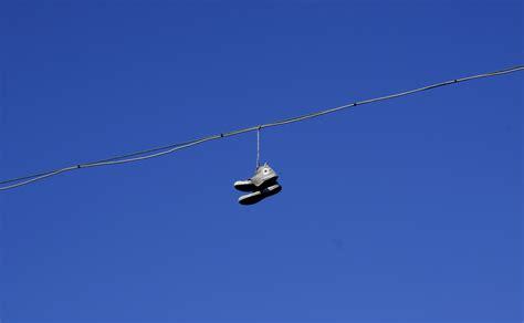 hanging photos on wire why do people throw their shoes on a wire caterpickles