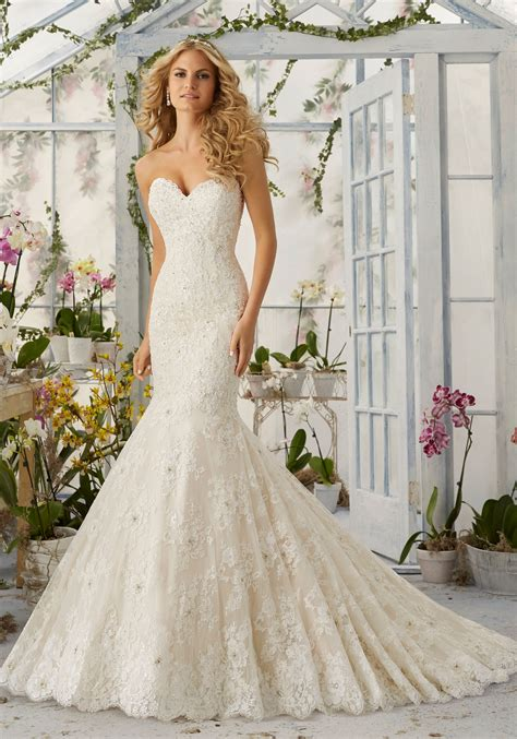 wedding dresses on allover lace mermaid wedding dress with pearls style