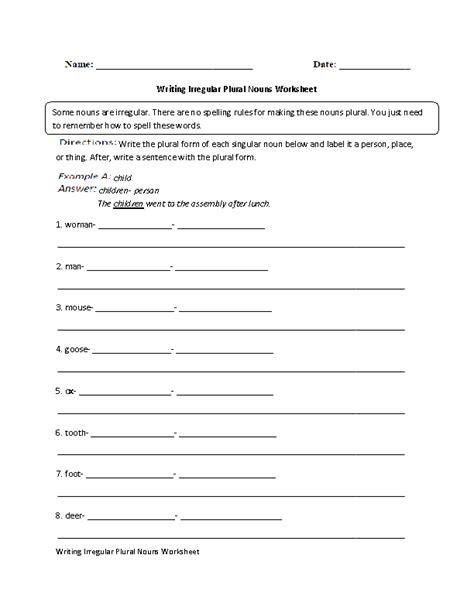 Irregular Plurals Worksheet by Writing Irregular Plural Nouns Worksheet Advanced Stuff