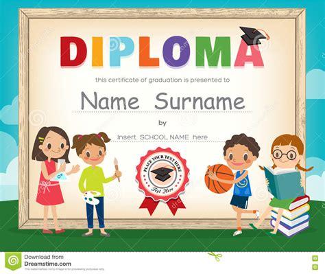 kids certificate template kids diploma certificate design template stock