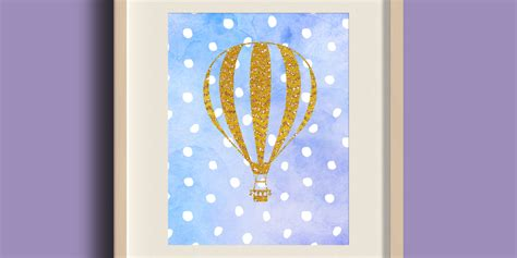 free printable wall art watercolor free printable golden air balloon on blue watercolor