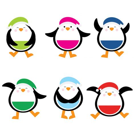 colorful penguins illustration with colorful penguins