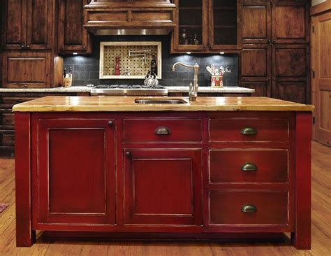 kitchen island red island red distressed look love this pinterest