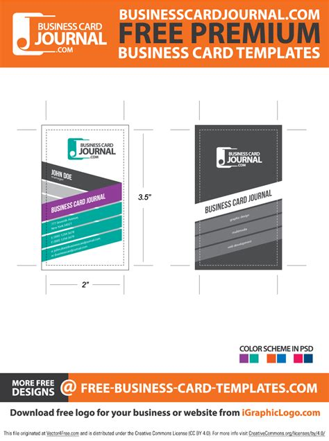 free author business card templates stylish creative vertical business card template free