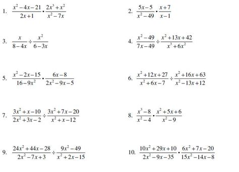 Rational Expressions Worksheet Answers by Multiplying And Dividing Rational Expressions Worksheet