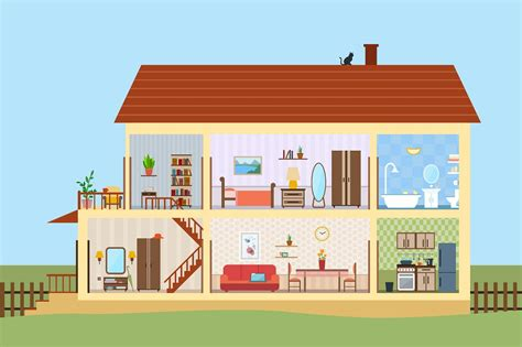 set pieces inside the homes of parenthood l a at big house inside with icons set illustrations creative