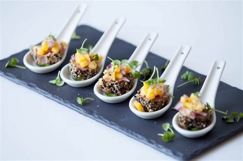 Cool Small Kitchen Ideas by Seared Sesame Tuna On Cucumber Topped With Mango And