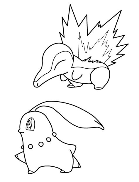 pokemon coloring pages chikorita free coloring pages of mon cyndaquil