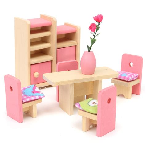 wooden doll set children toys miniature house family