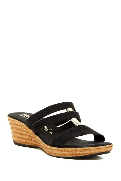 italian shoemakers wedge sandals italian shoemakers strappy wedge sandal in black lyst