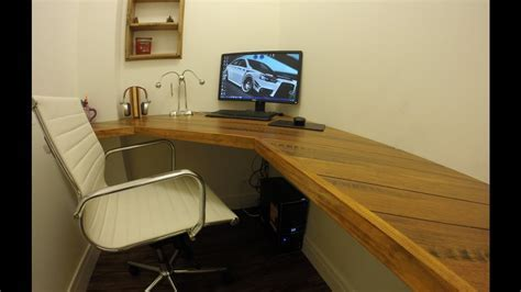 Floating Corner Desk with Bamboo Flooring Top   YouTube