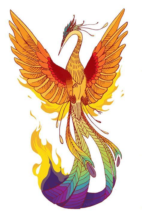 phoenix tattoo in orange ma orange animated phoenix with colorful tail tattoo design