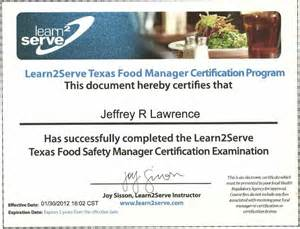Food Manager Certificate Kilgore Bowling Center
