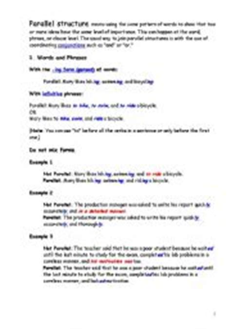 Parallel Structure Worksheet With Answers by Worksheets Parallel Structure