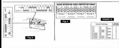 Door code numbers for 9 code switches and 4 door code numbers for 12