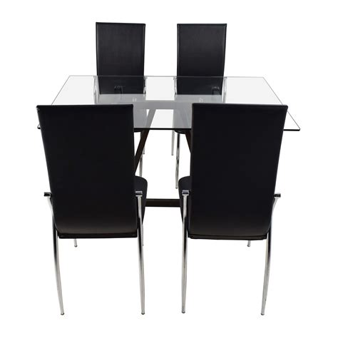 Glass Top Table And Chairs by 61 Glass Top Dining Table And Leather Chairs Tables