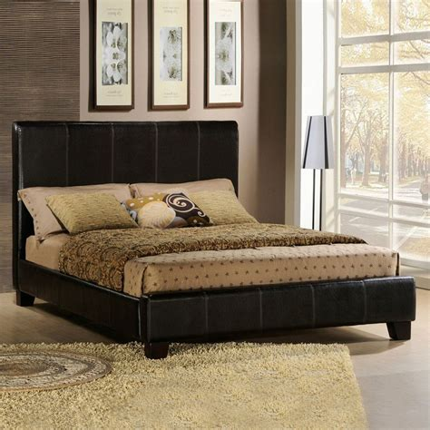 Brown Leather Bedroom Furniture Oxford Creek Brown Faux Leather Size Bed Home Furniture Bedroom Furniture Beds