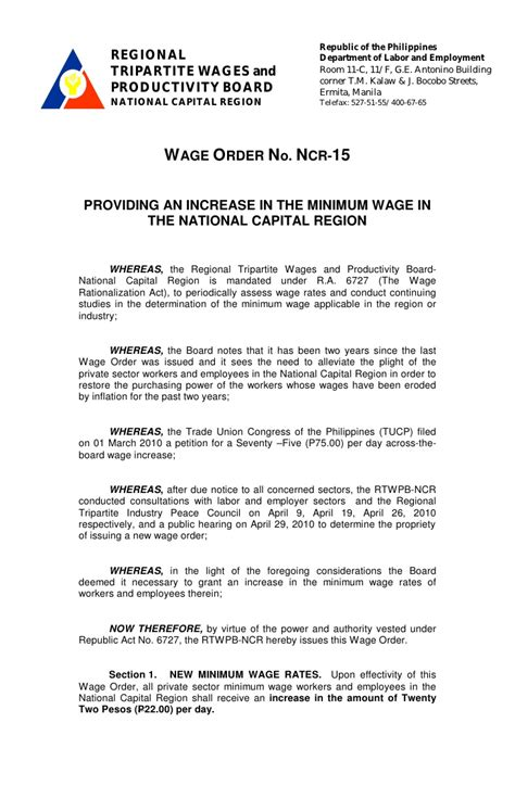 Wage Order No Ncr 15 Effective July 1 2010 With
