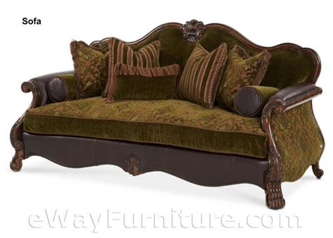 Leather Sofa With Wood Trim Palace Gates Wood Trim Fabric And Leather Sofa