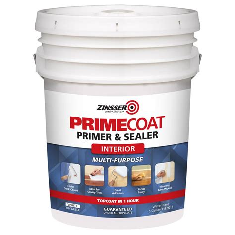 zinsser 5 gal primecoat water based white interior primer