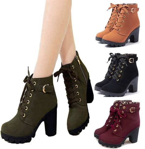 lace up mid high ankle boots chunky block heel