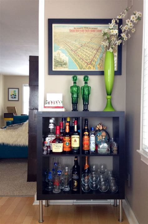 mini bar cabinet ikea ikea expedit turned bar organize decorate