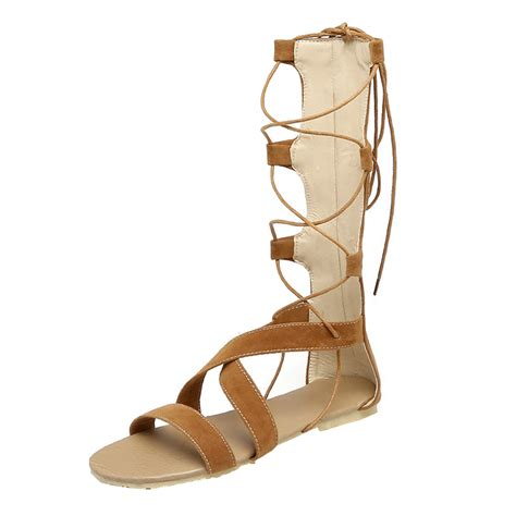 flat boot sandals s gladiator lace up flat heels boots sandals