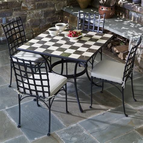 marble patio furniture 5 carnival checkerboard marble mosaic bistro set