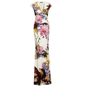 Clothing dresses roberto cavalli long floral print cream dress