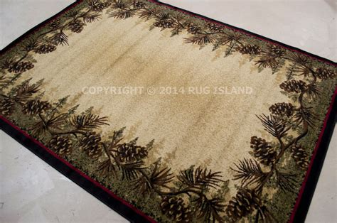 lodge rugs on sale 4x6 3 11 quot x 5 3 quot lodge cabin rustic pinecone green area rug free shipping ebay