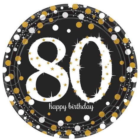 Bday Decorations At Home 8 Gold Celebration Age 80 Paper Plates Gold Black 80th