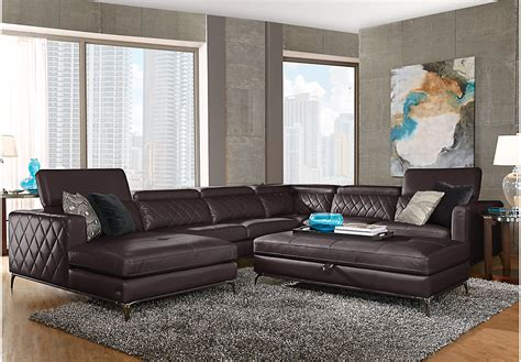 Sofia Vergara Living Room Set Sofia Vergara Sorrento Black Cherry 5 Pc Sectional Living Room Living Room Sets Black