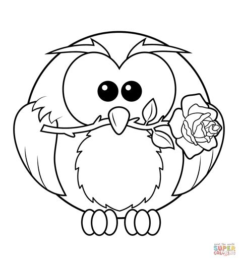Owl With Rose Coloring Page Free Printable Coloring Pages Owl Print Out Coloring Pages