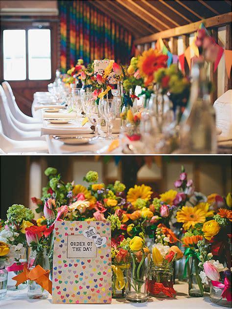 rainbow themed wedding decorations rainbow wedding theme popsugar