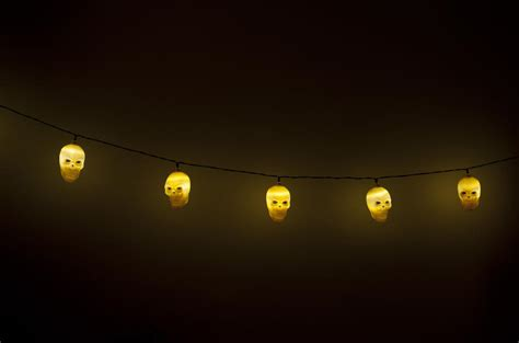 stock photo  string  glowing yellow halloween skull lights freeimageslive