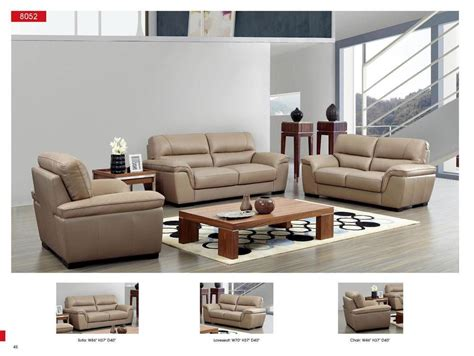 Modern Leather Living Room Set by Esf 8052 Modern Beige Italian Leather Living Room Sofa