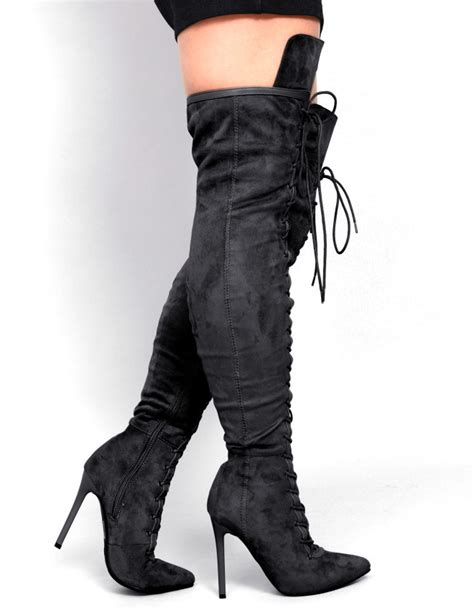 womens thigh high boots lace up custom made plus size