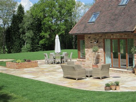 Sandstone Gardens by Garden With Indian Sandstone Paving Lawn And Furniture