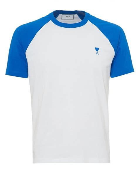 Shoulder Plain T Shirt ami mens contrast shoulders t shirt plain white blue