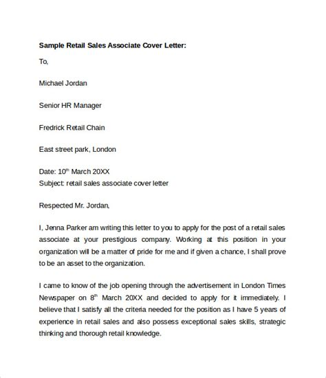 cover letter exle for sales associate 10 retail cover letter templates free documents