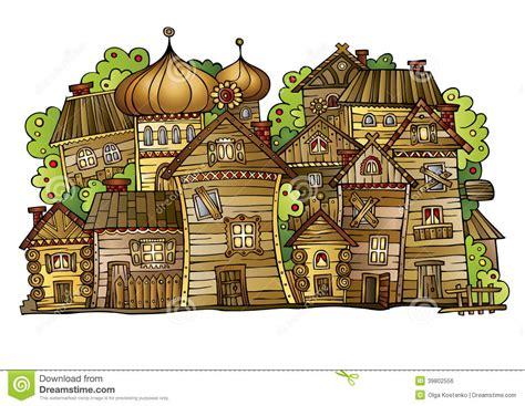Pueblo Style House Plans cartoon vector russian old wooden village stock vector