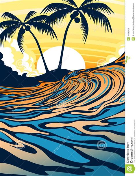 drawing a vector wave surf vector illustration surfing wave palm