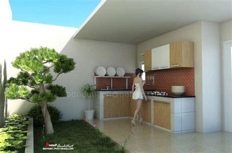 desain dapur terbuka  taman dibelakang rumah  modern terbaru
