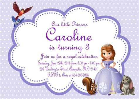 sofia the invitation template sofia the birthday invitation printable file